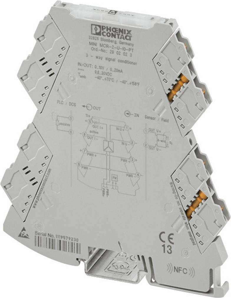 3-cestný izolačný zosilňovač Phoenix Contact MINI MCR-2-I4-U-PT 2902003 1 ks