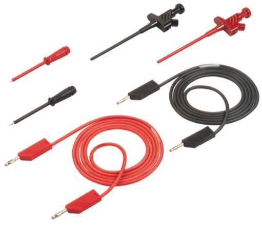 Sada měřicích kabelů SKS Hirschmann s příslušenstvím, 1 m, zástrčka Ø 4 mm, černá/červená