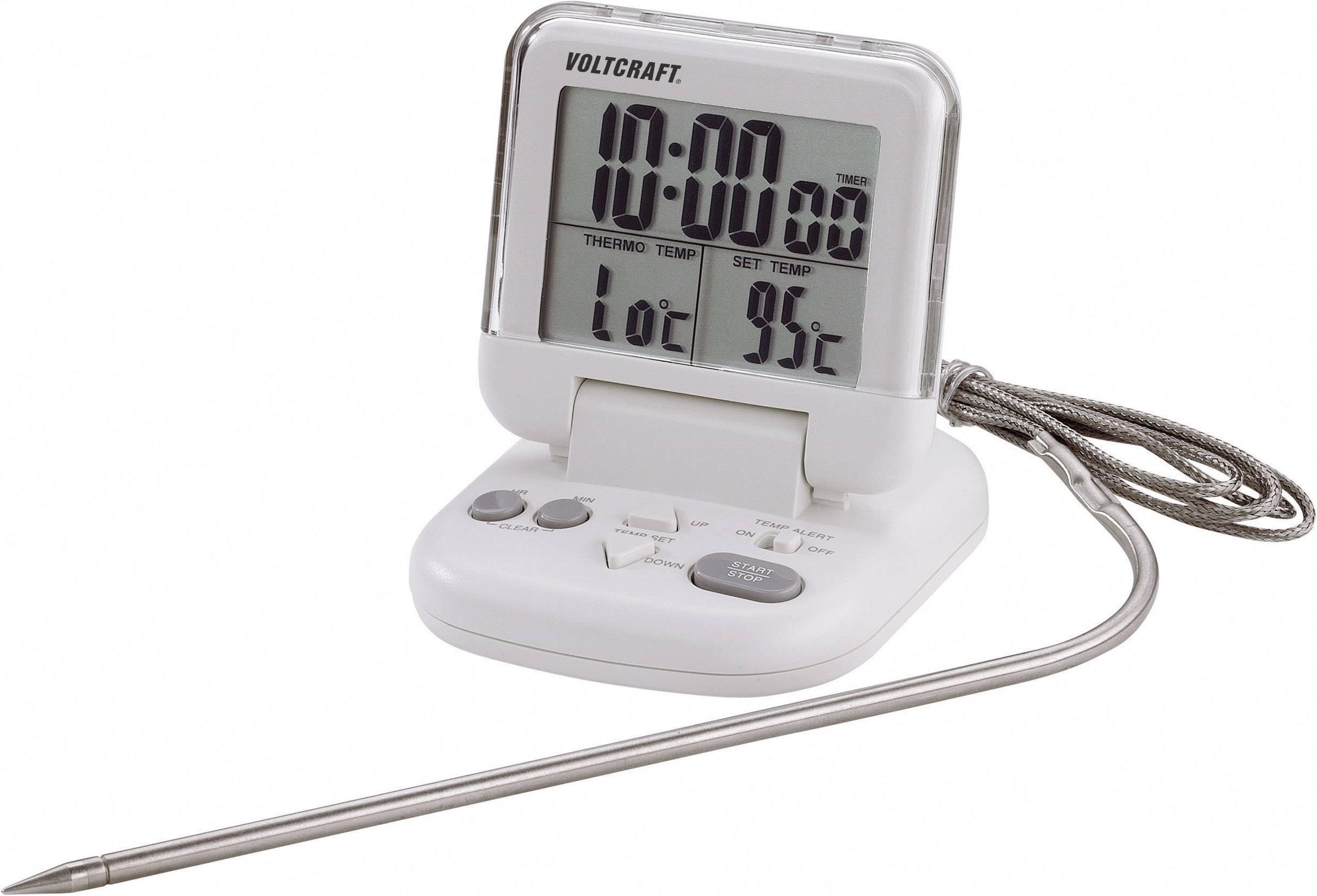 Vpichovací teploměr s časovačem Voltcraft DET-3T, 0 až +200 °C