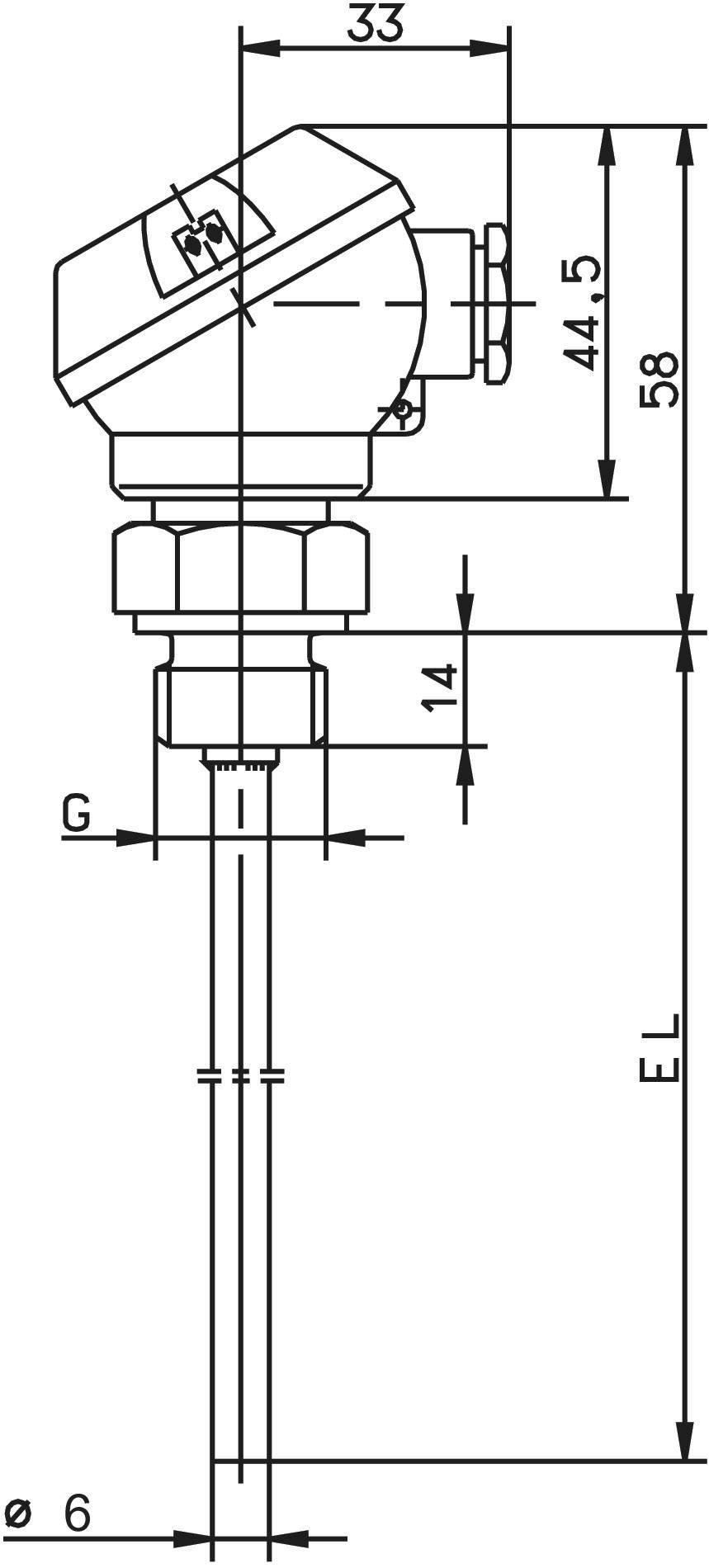 Šroubovací odporový teploměr s přípojvací hlavou Jumo, 100 mm