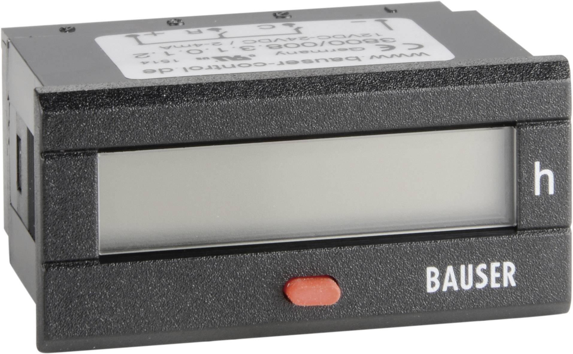 Počítadlo provozních hodin Bauser, 3800.3.1.0.1.2 DC, 12- 24 VDC, 45 x 22 mm, IP54