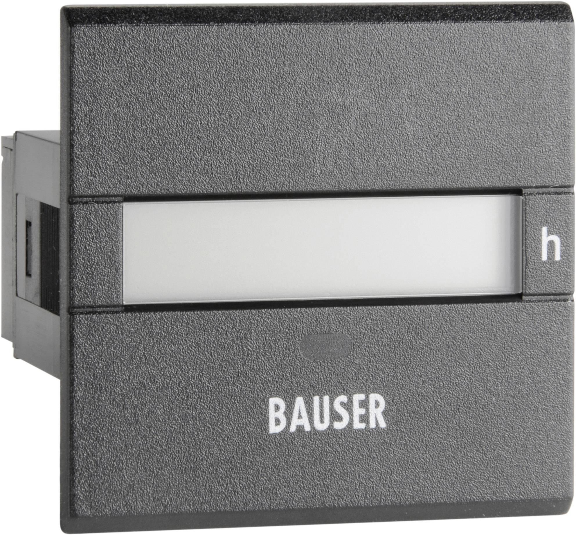 Počítadlo prevádzkových hodín Bauser 3801.2.1.0.1.2 AC, 115 - 240 VAC, 45 x 45 mm, IP65