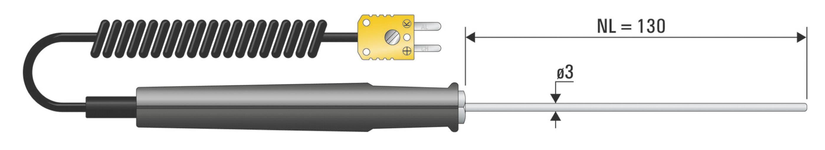 Teplotné čidlo B+B Thermo-Technik typu K (NiCrNi), -50 až 1150 °C