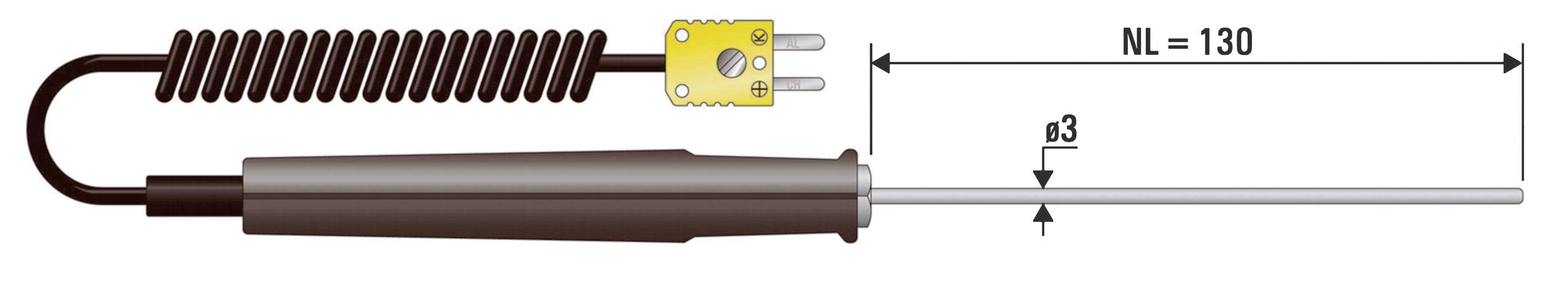 Vpichovacie čidlo B+B Thermo-Technik EHF 1xK NL 130 EHF 1xK NL 130, -50 do +400 °C, druh čidla=K