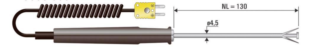 Teplotné čidlo B+B Thermo-Technik typu K (NiCrNi), -50 až 650 °C