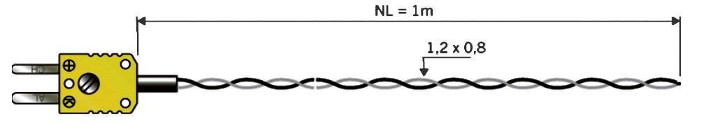 Teplotné čidlo B+B Thermo-Technik typu K (NiCrNi), -50 až 260 °C, 1 m