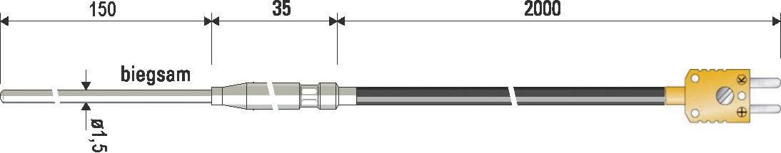 Teplotní čidlo B+B Thermo-technik, typ K (NiCrNi) B & B, -100 až 1000 °C