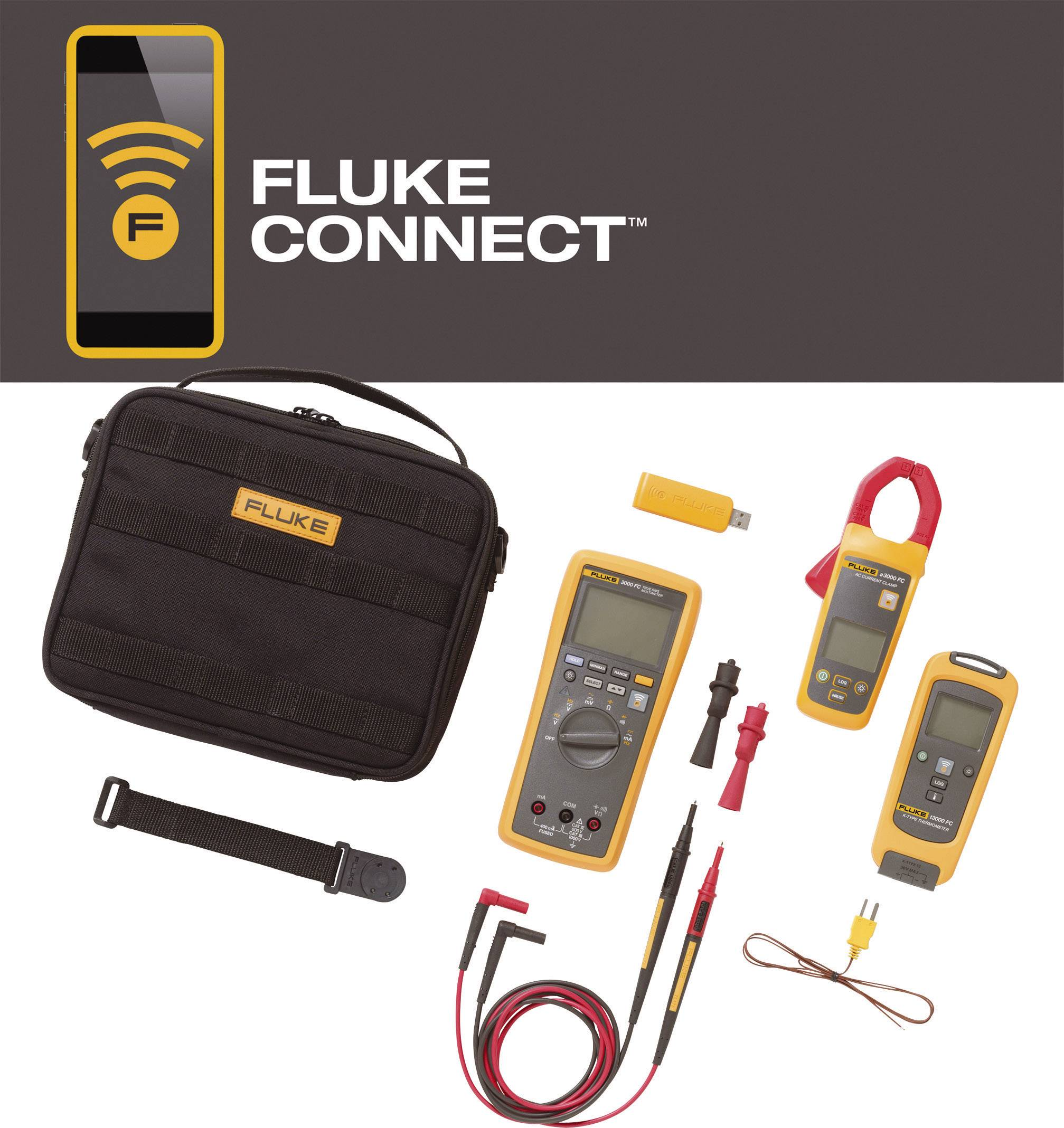 Sada HVAC pro bezdrátové měření proudu/teploty Fluke FLK-3000 FC HVAC, Fluke