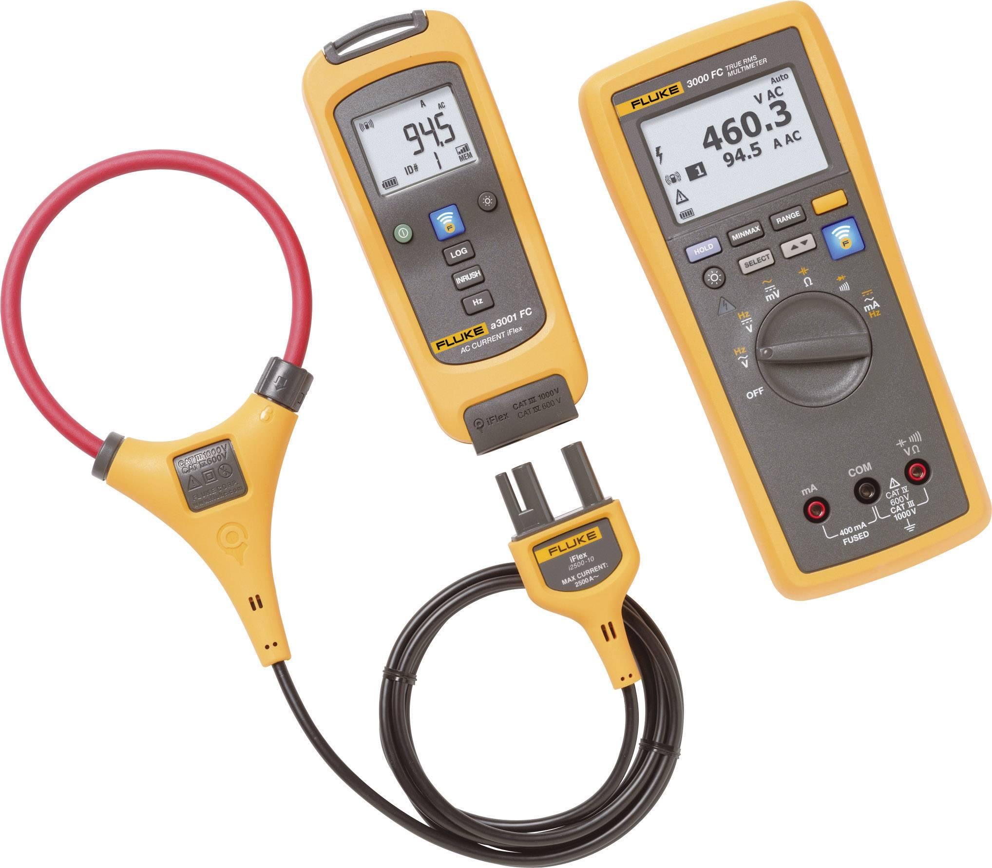Prúdové kliešte, ručný multimeter digitálne/y Fluke FLK-A3001 FC KIT, grafický displej, datalogger