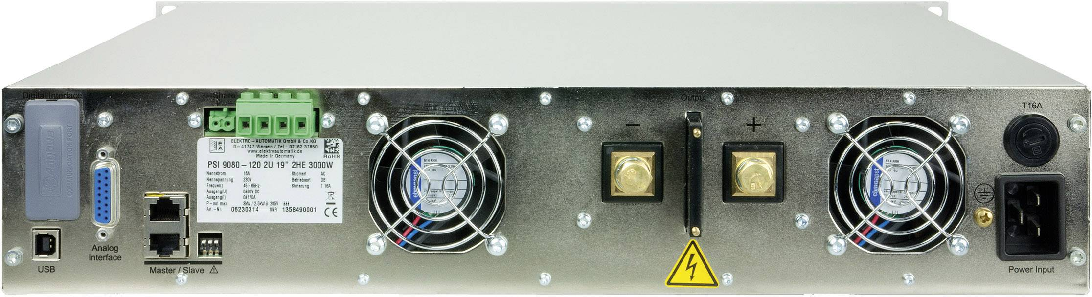 Programovateľný laboratórny zdroj EA EA-PSI 9500-06, 2U, 500 V, 6 A, 1000 W, USB