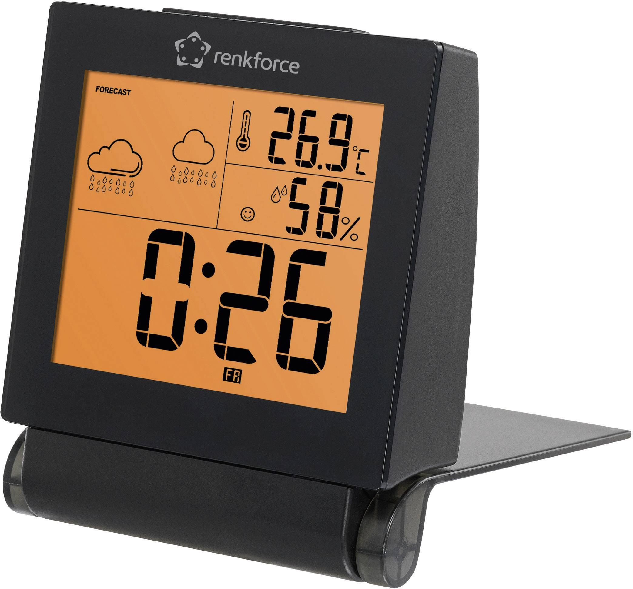 Cestovní teploměr/vlhkoměr s předpovědí počasí a budíkem, Renkforce E0111W