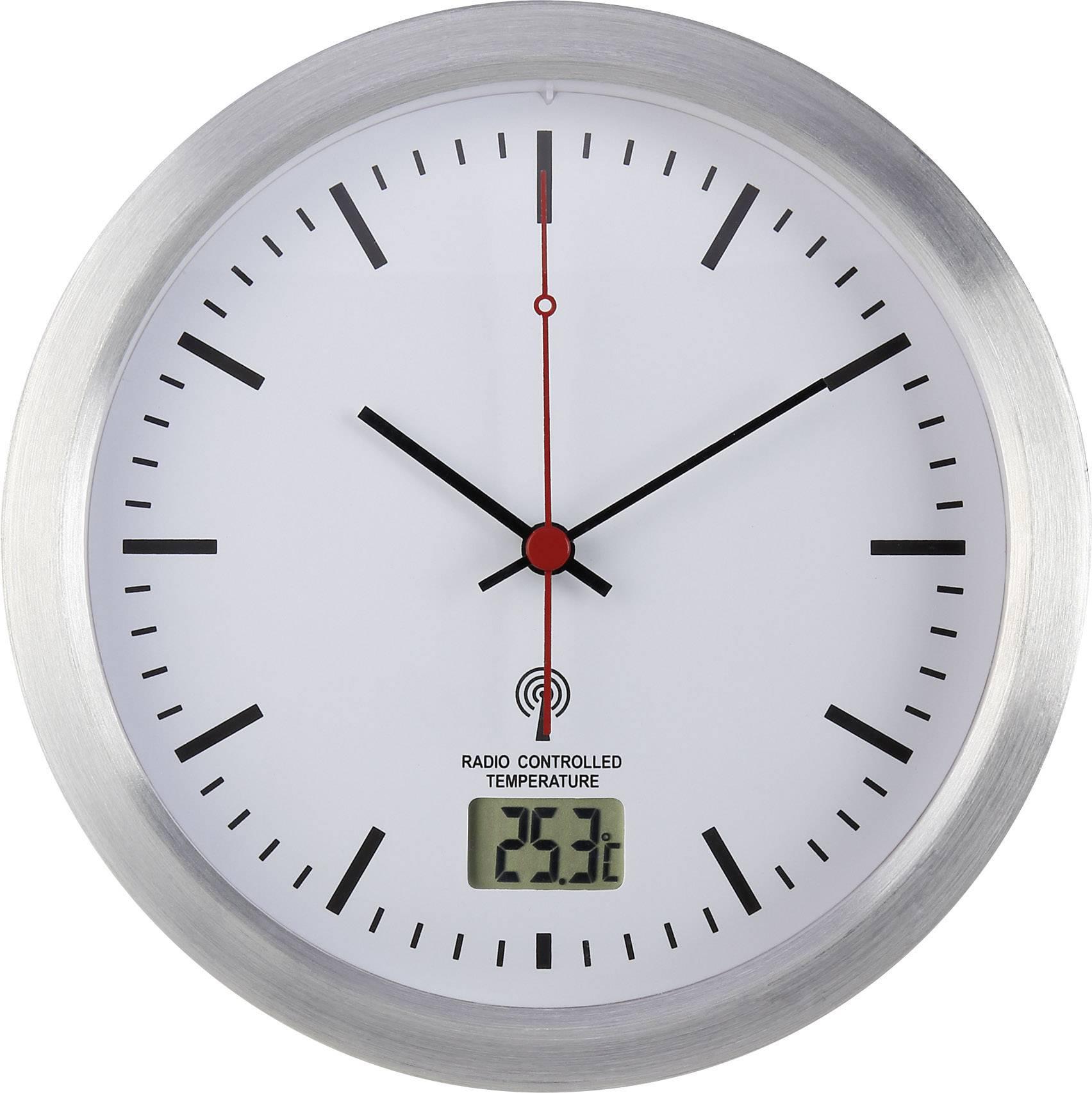 Analógové DCF nástenné hodiny do kúpeľne Renkforce, E1003R, Ø 17 x 6 cm, sivá