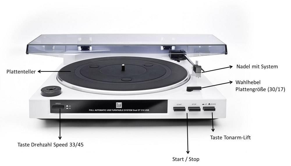 USB gramofon Dual DT 210 weiß, řemínkový pohon, bílá