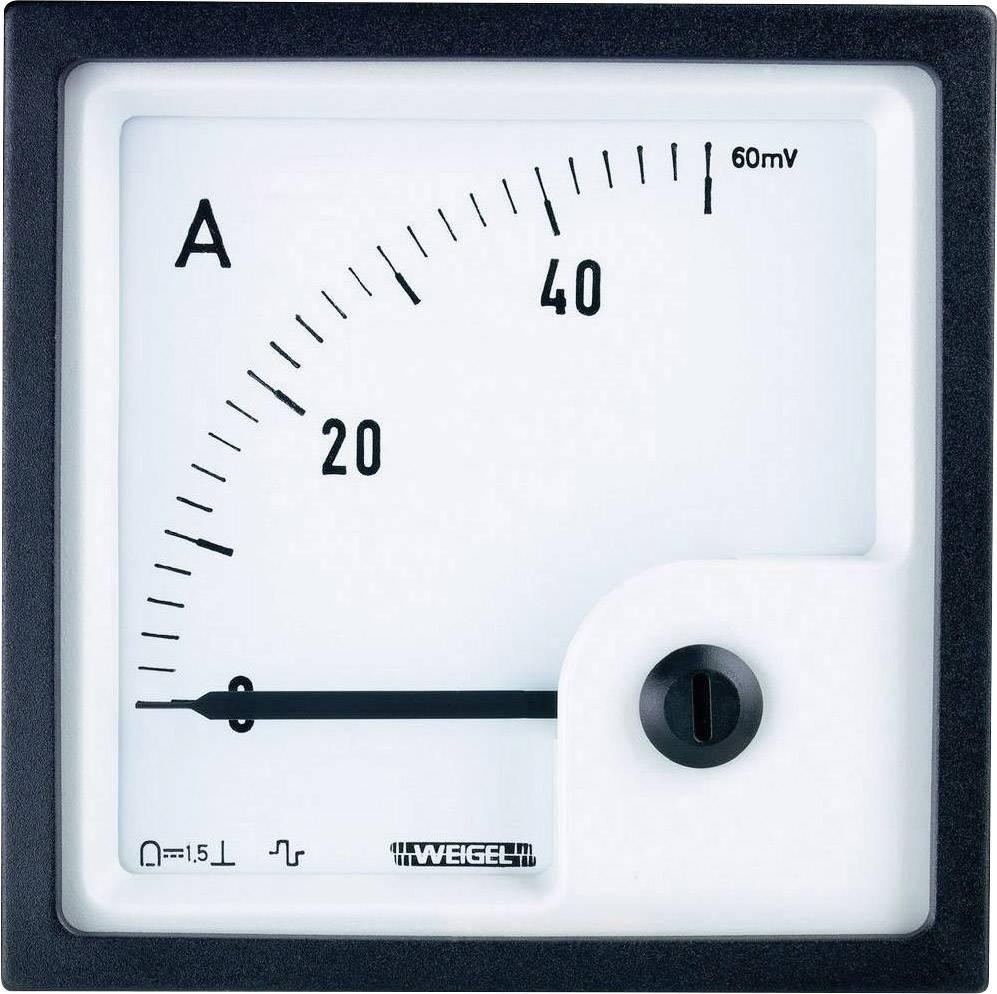 Analogové panelové měřidlo Weigel PQ72K 50A/60mV 50 A/DC (60mV)