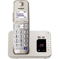 Bezdrátový telefon pro seniory Panasonic KX-TGE220 záznamník, handsfree podsvícený displej champagne