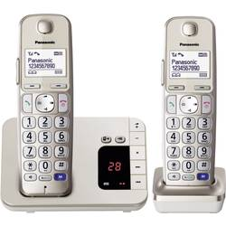 Bezdrátový telefon pro seniory Panasonic KX-TGE222 Duo záznamník, handsfree podsvícený displej champagne