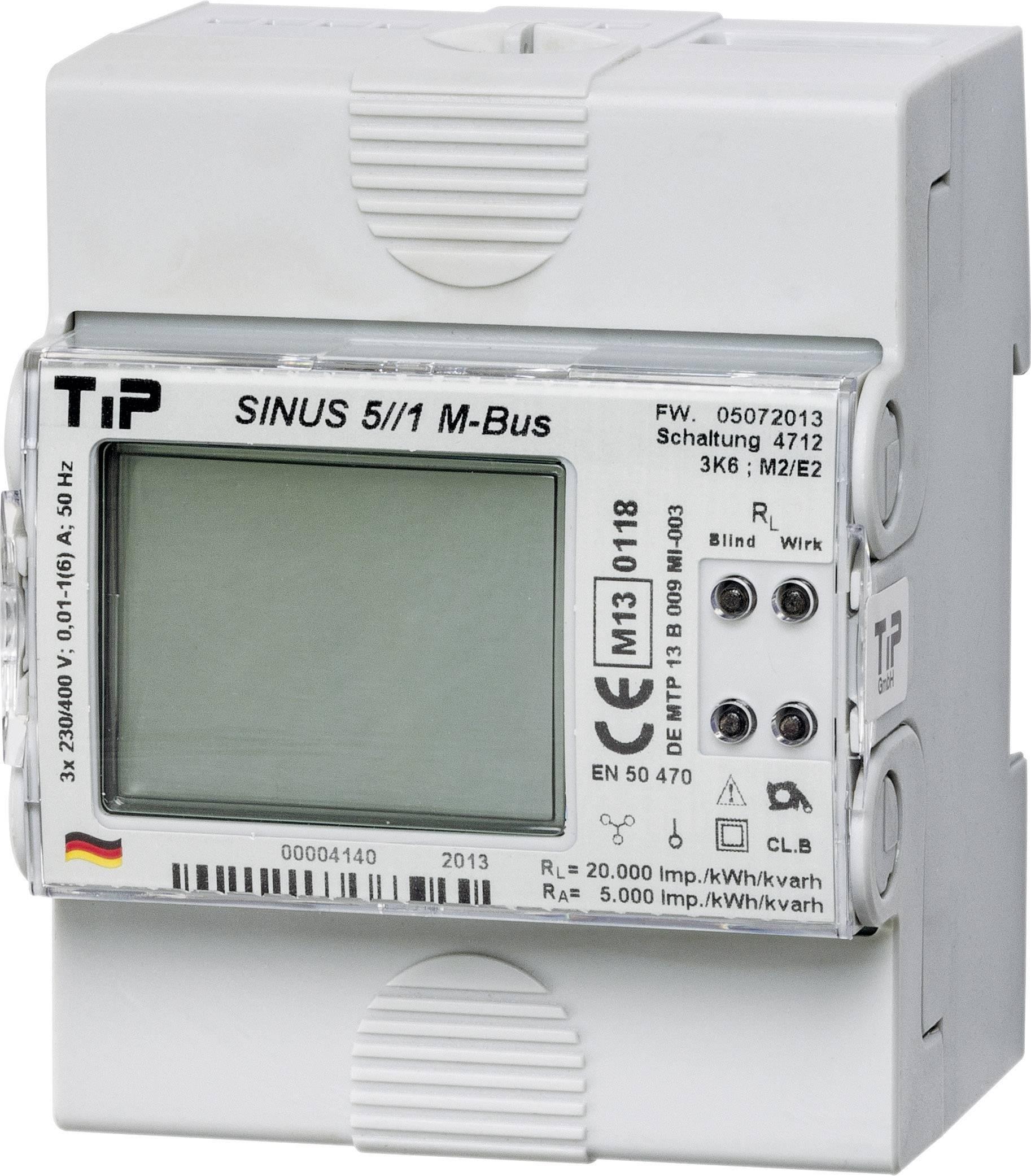 Třífázový elektroměr s připojením měniče digitální Úředně schválený: Ano TIP SINUS 5//1 S0