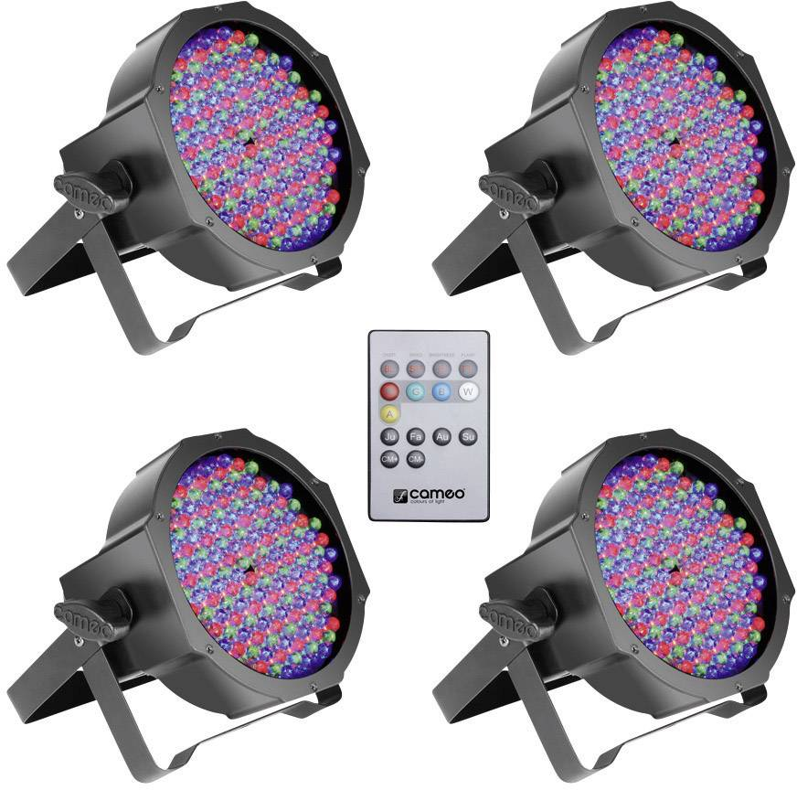 LED reflektor Cameo Flat, 15 W, viacfarebný, 4 ks