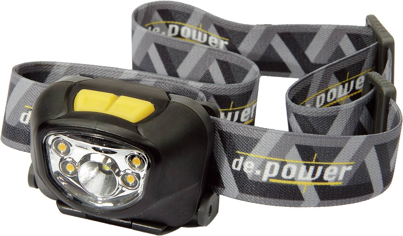LED čelovka de.power by litexpress DP-801 DP-801AAA-C, na batérie, 95 g, čiernosivá