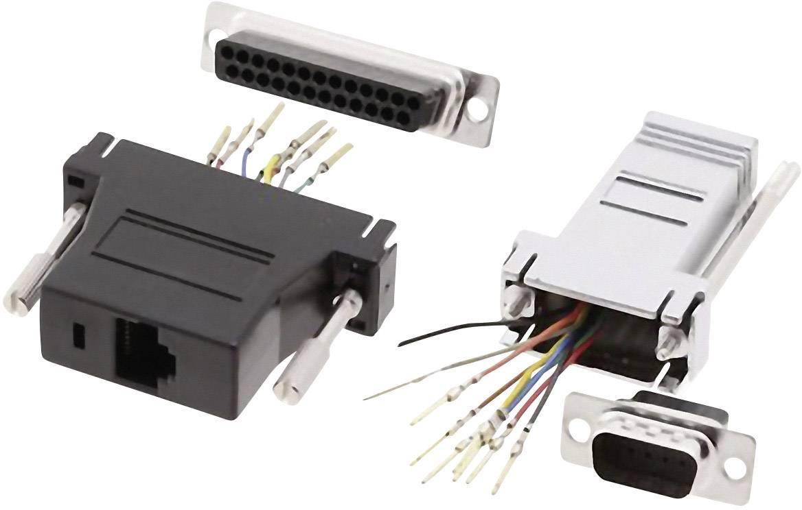 D-SUB adaptér MH Connectors DA25-PMJ8-K-RC, D-SUB zástrčka 25pólová - RJ45 zásuvka, 1 ks