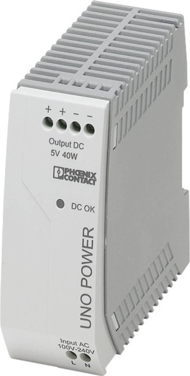 Síťový zdroj na DIN lištu Phoenix Contact UNO-PS/1AC/ 5DC/ 40W, 1 x, 5 V/DC, 8 A, 25 W