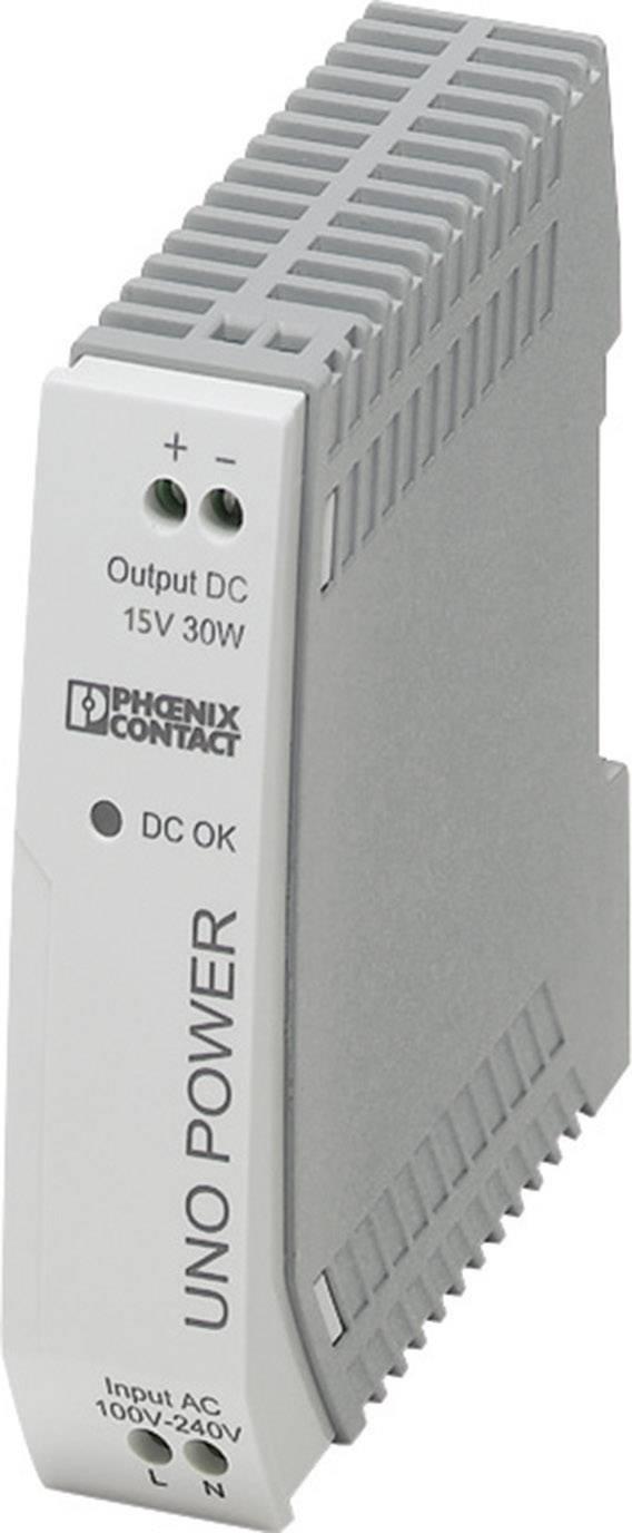 Síťový zdroj na DIN lištu Phoenix Contact UNO-PS/1AC/15DC/30W, 1 x, 15 V/DC, 2 A, 30 W