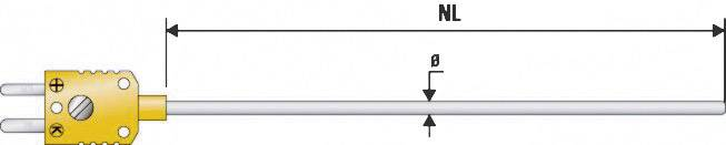 Teplotní čidlo B+B Thermo-technik, typ K (NiCrNi) B & B, -200 až 1100 °C, Ø 1 mm