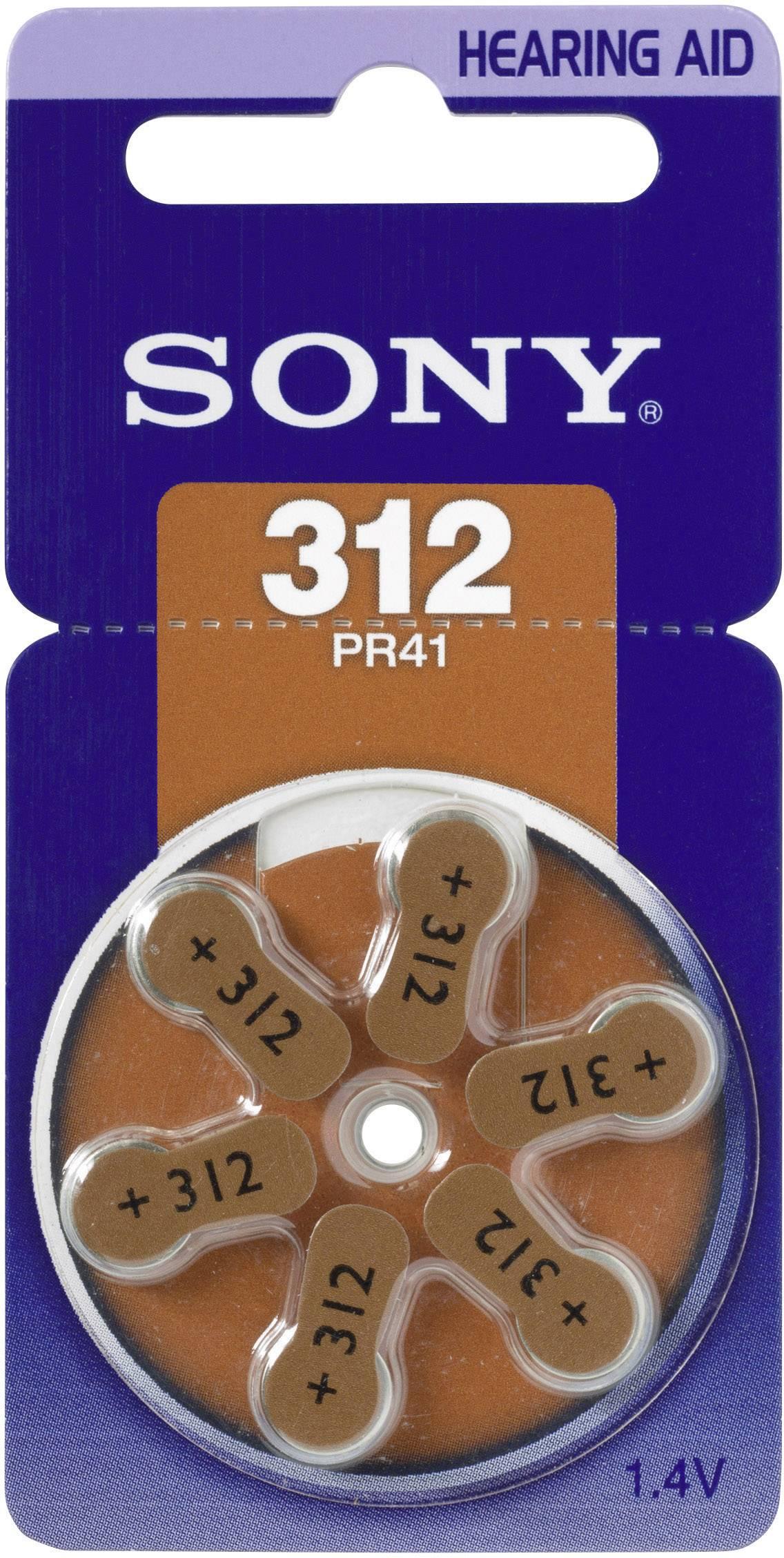 Gombíková batéria do načúvacích prístrojov ZA312 Sony, zinok-vzduch, 6 ks