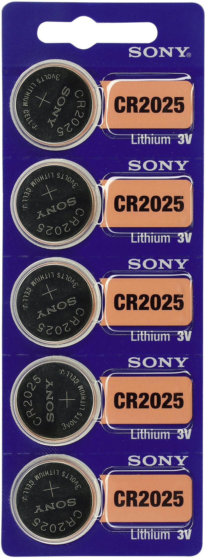Gombíková batéria CR 2025 Sony, lítium, 5 ks