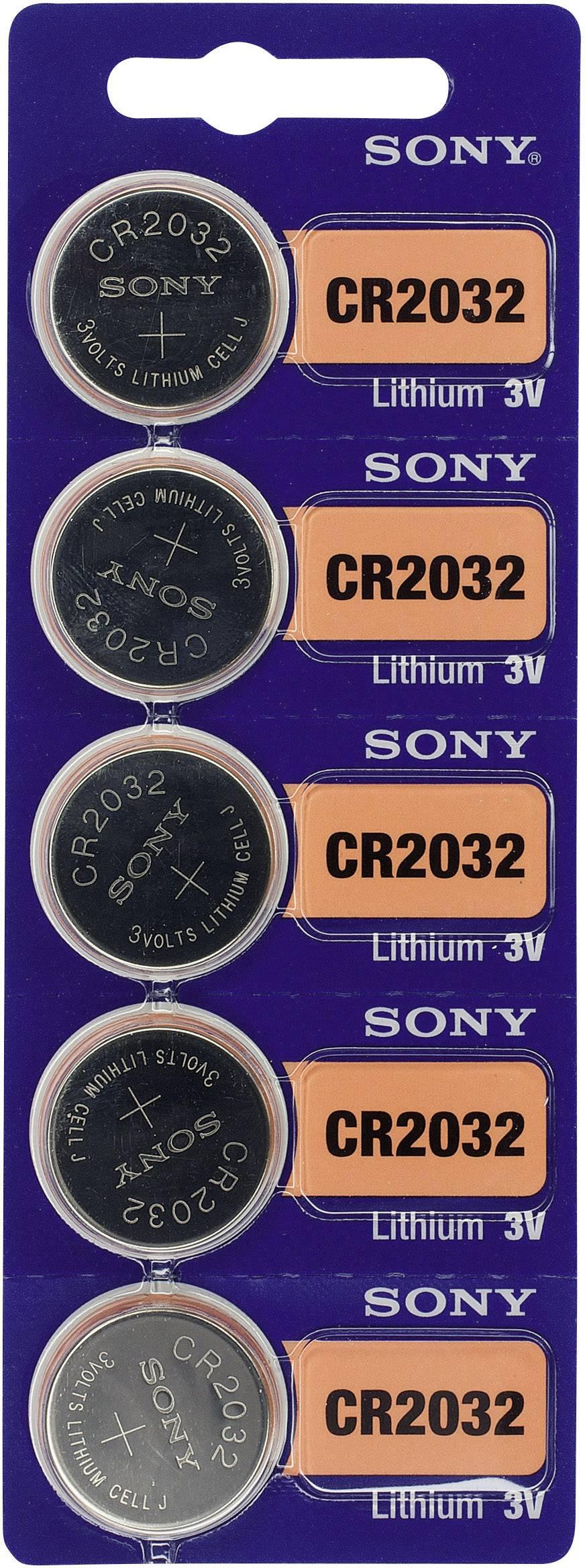 Knoflíková baterie CR 2032 Sony, lithium, 5 ks