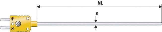Teplotní čidlo B+B Thermo-technik, typ K (NiCrNi) B & B, -200 až 1100 °C, Ø 3 mm