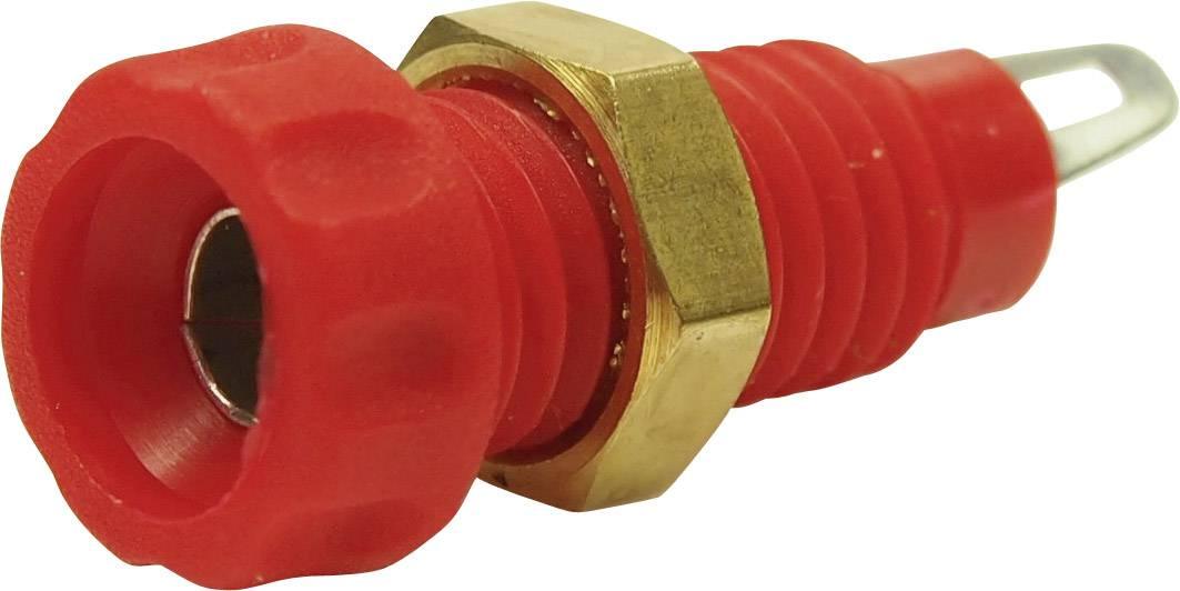 Laboratórna zásuvka Cliff CL1452A – zásuvka, vstavateľná vertikálna, Ø hrotu: 4 mm, červená, 1 ks