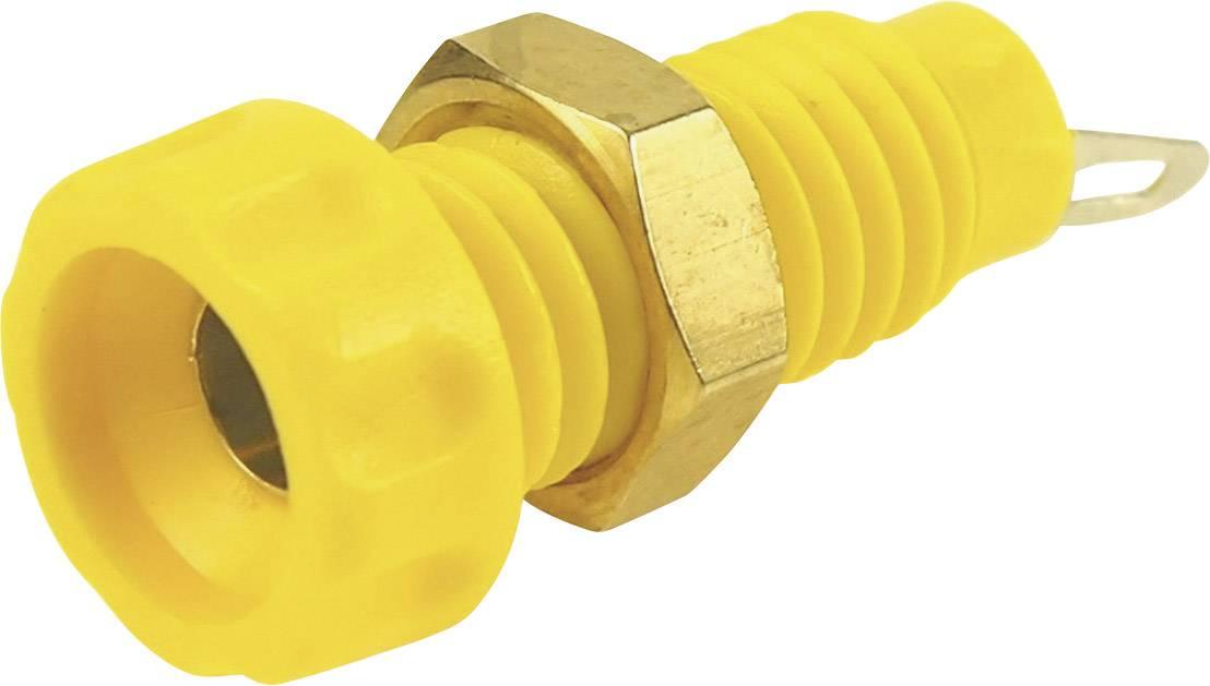 Laboratorní konektor Ø 4 mm Cliff CL1454A, zásuvka vestavná vertikální, žlutá