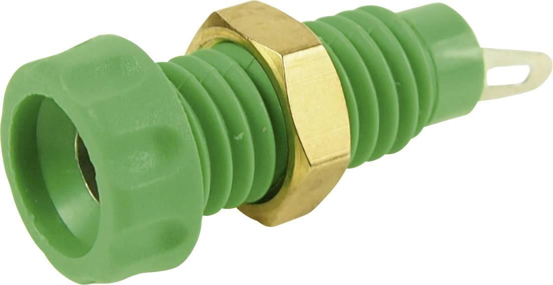 Laboratorní konektor Ø 4 mm Cliff CL1460A, zásuvka vestavná vertikální, zelená