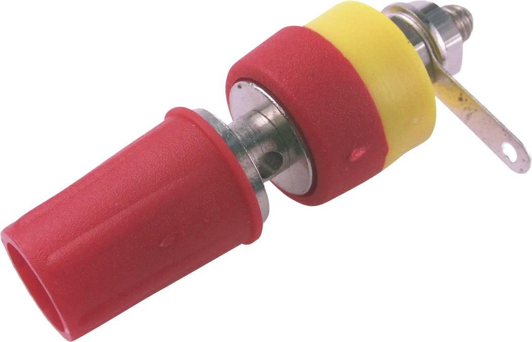 Laboratorní konektor Cliff CL1551D, zásuvka vestavná vertikální, červená
