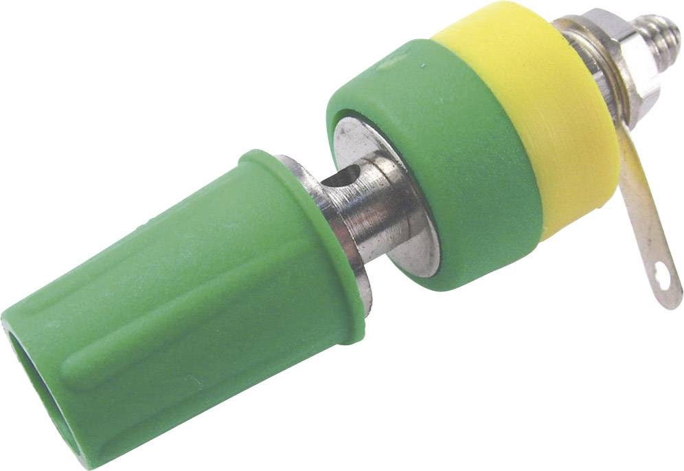 Laboratorní konektor Cliff CL1553D, zásuvka vestavná vertikální, zelená