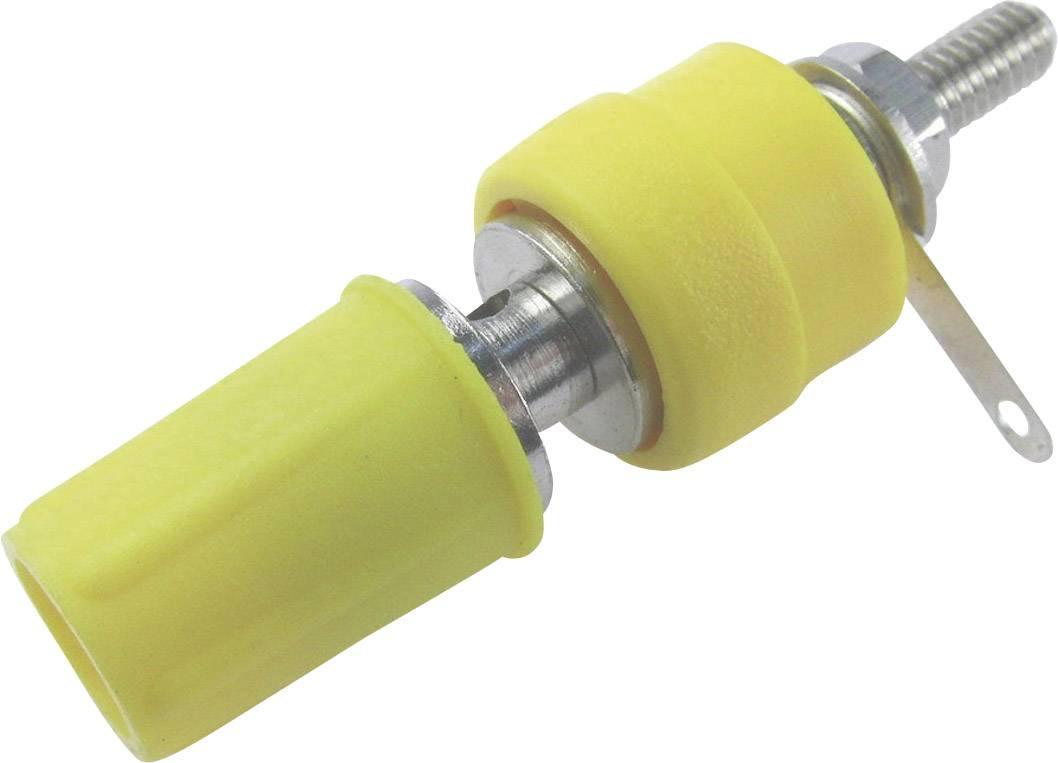 Laboratorní konektor Cliff CL1557D, zásuvka vestavná vertikální, žlutá