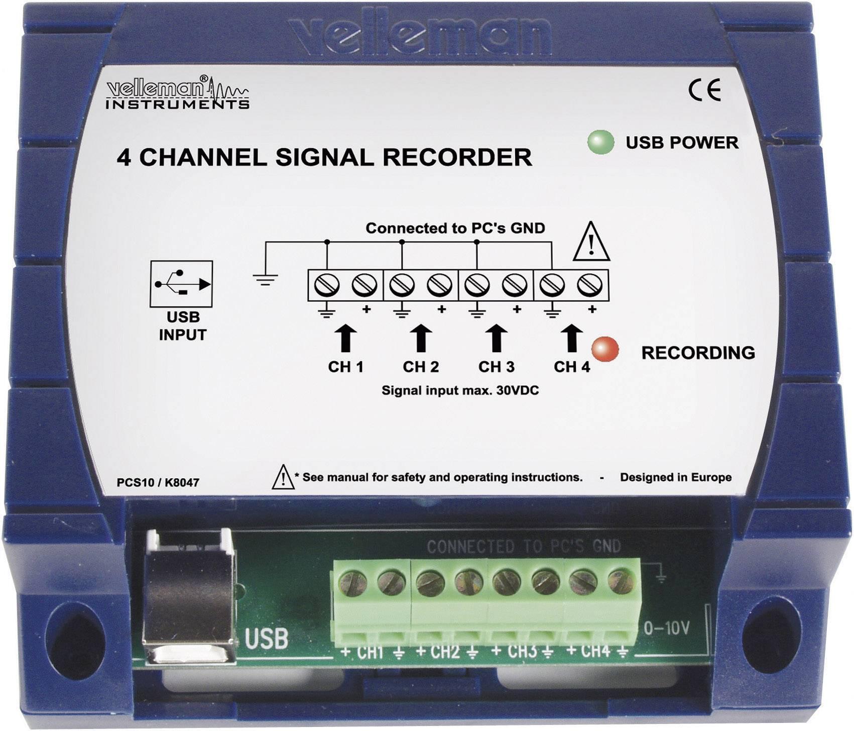 USB dátový rekordér Velleman PCS10, 4-kanálový