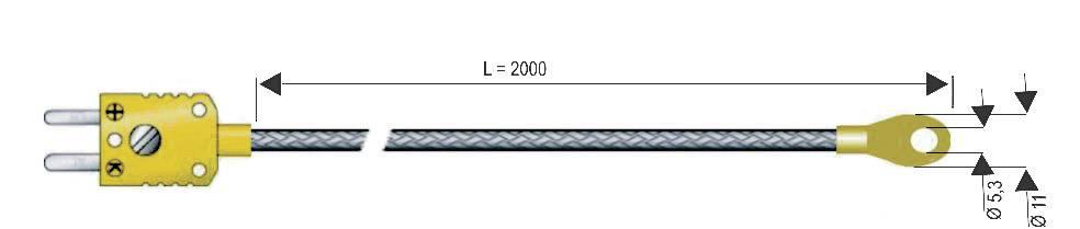 Čidlo pro přišroubování B & B Thermotechnik, typ K (NiCrNi), -50 až +400 °C, s očkem