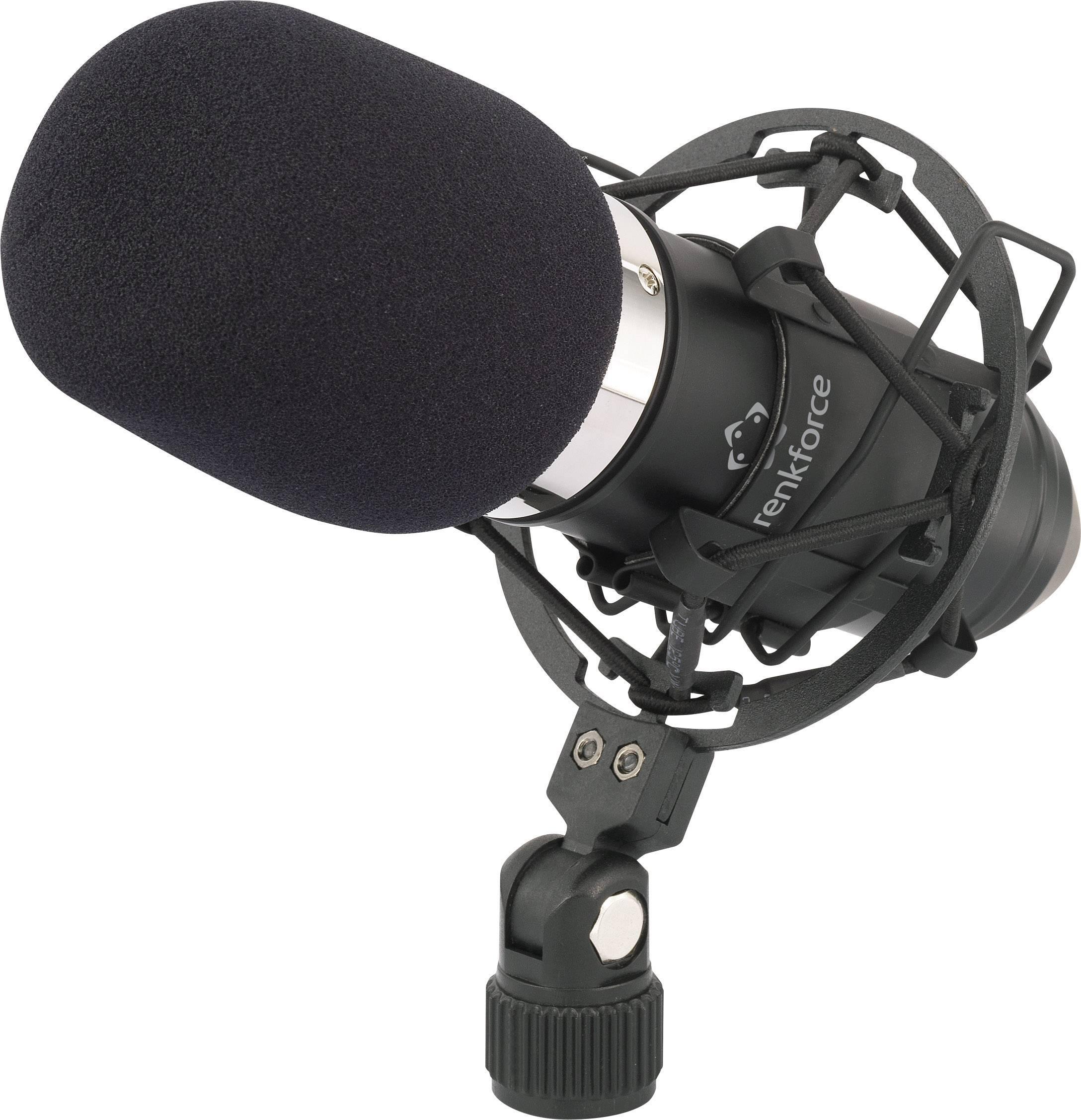 Štúdiový mikrofón Renkforce AT-100, káblový, vr. ochrany proti vetru, vr. pavúka