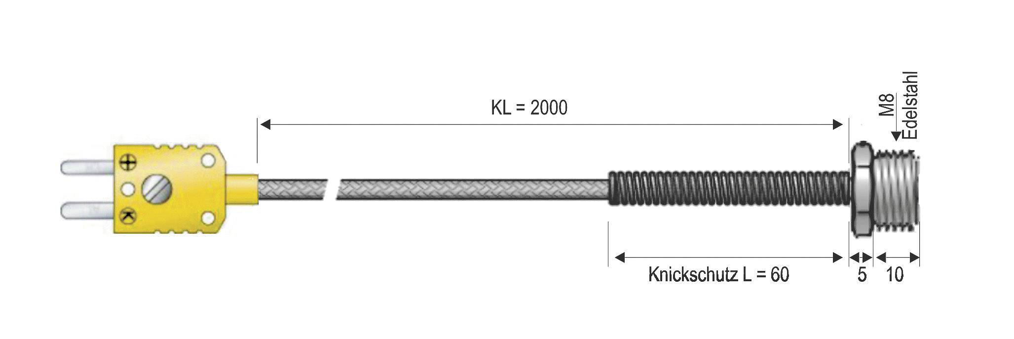 Čidlo pro přišroubování B & B Thermotechnik, typ K (NiCrNi), -50 až +400 °C, se závitem