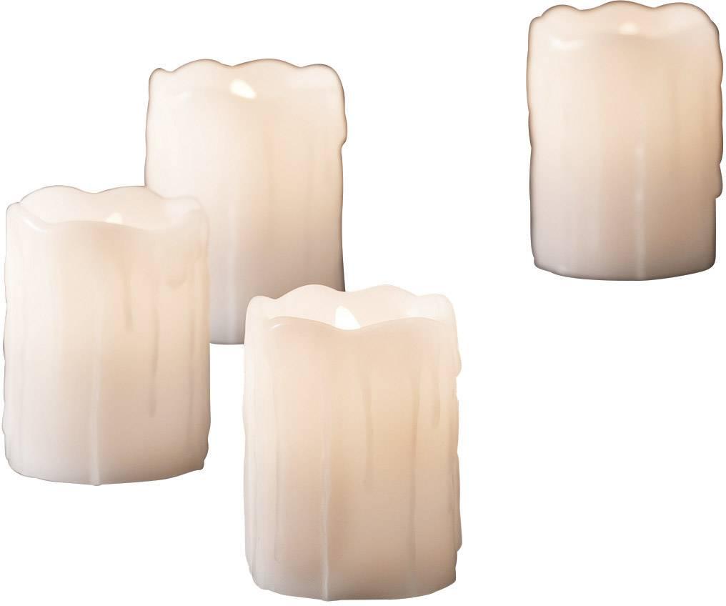 Vnútorné LED vosková sviečka Konstsmide 4 ks, biela