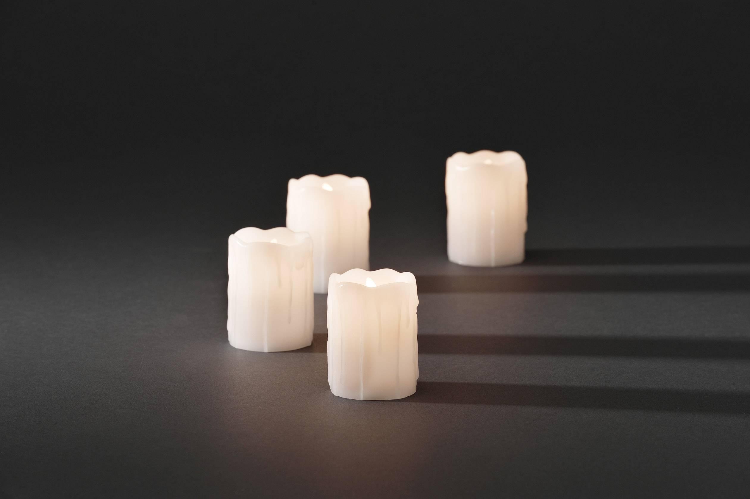 LED svíčky Konstsmide, 5 x 6.8 cm, bílý, sada 4 ks, bílá