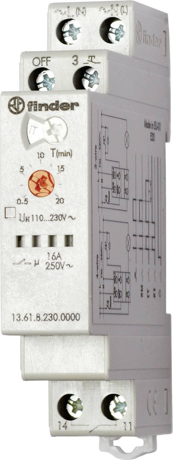 Časové relé monofunkční Finder 13.61.8.230.0000, 230 V/AC, čas.rozsah: 30 s - 20 min, 1 spínací kontakt, 1 ks