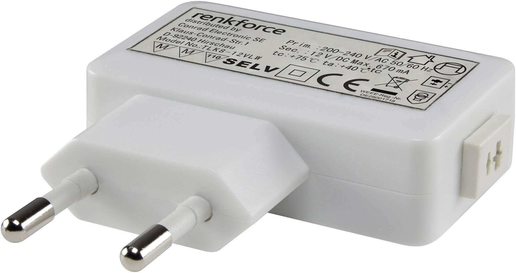 Sieťový adaptér Renkforce pre LED, 0-6 W, 12VDC, 500 mA, 9283c53, biela