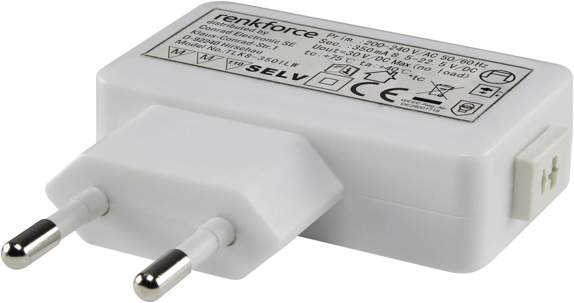 Sieťový adaptér Renkforce pre LED, 4-8 W, 12VDC, 350 mA, 9283c53, biela