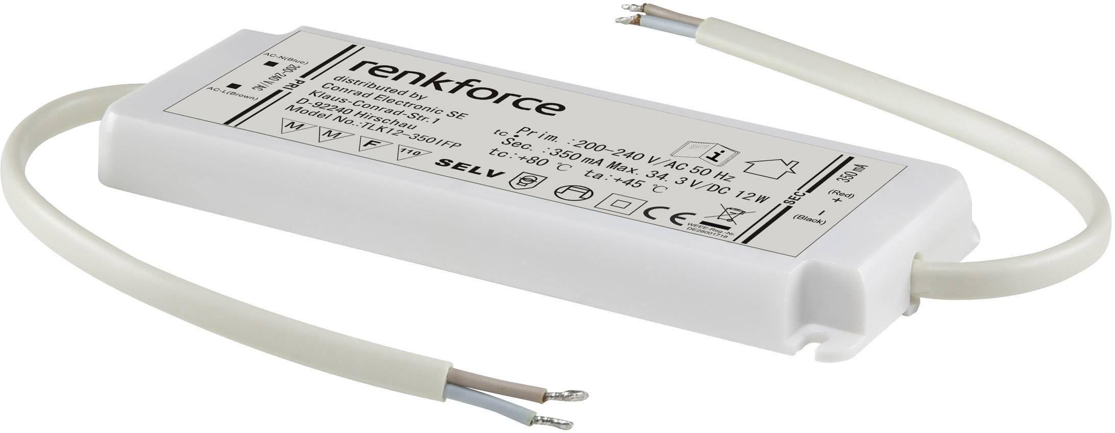Napájací zdroj Renkforce pre LED, 0-12 W, 350 mA, biela