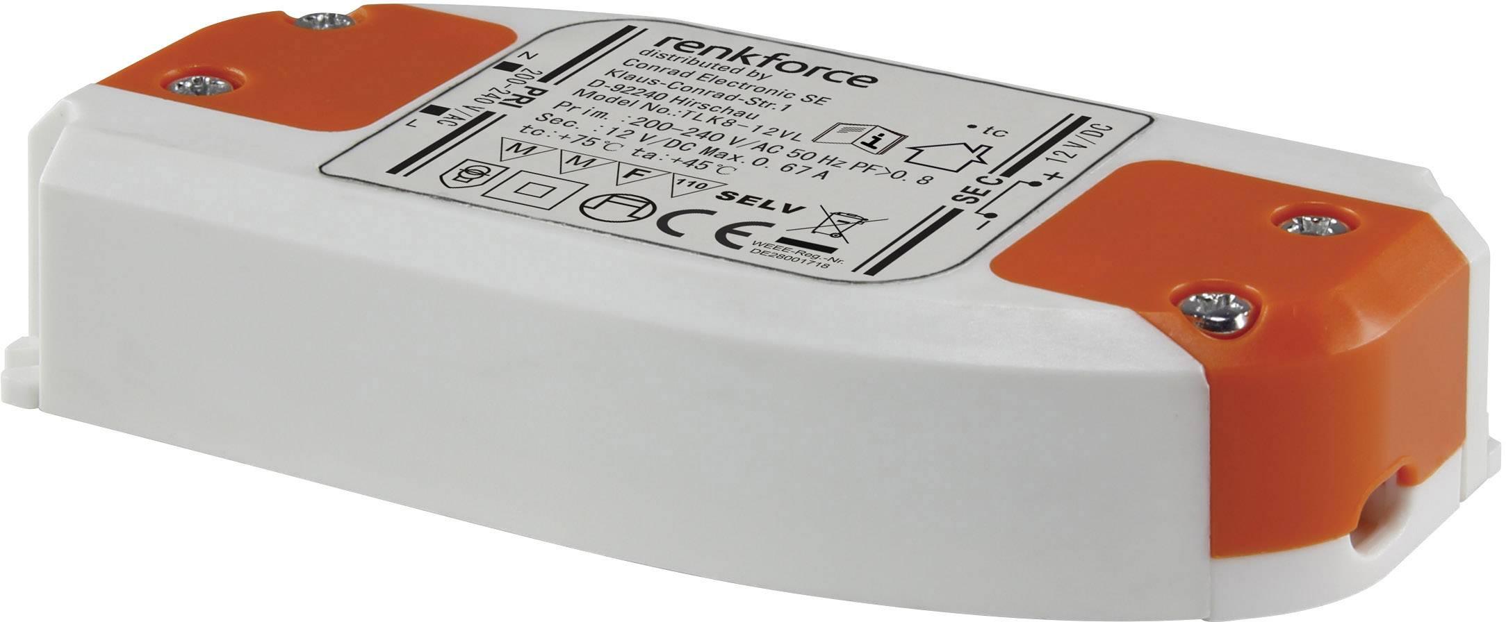 Napájací zdroj Renkforce pre LED, 0-8 W, 12 V/DC, 667 mA, biela/oranžová