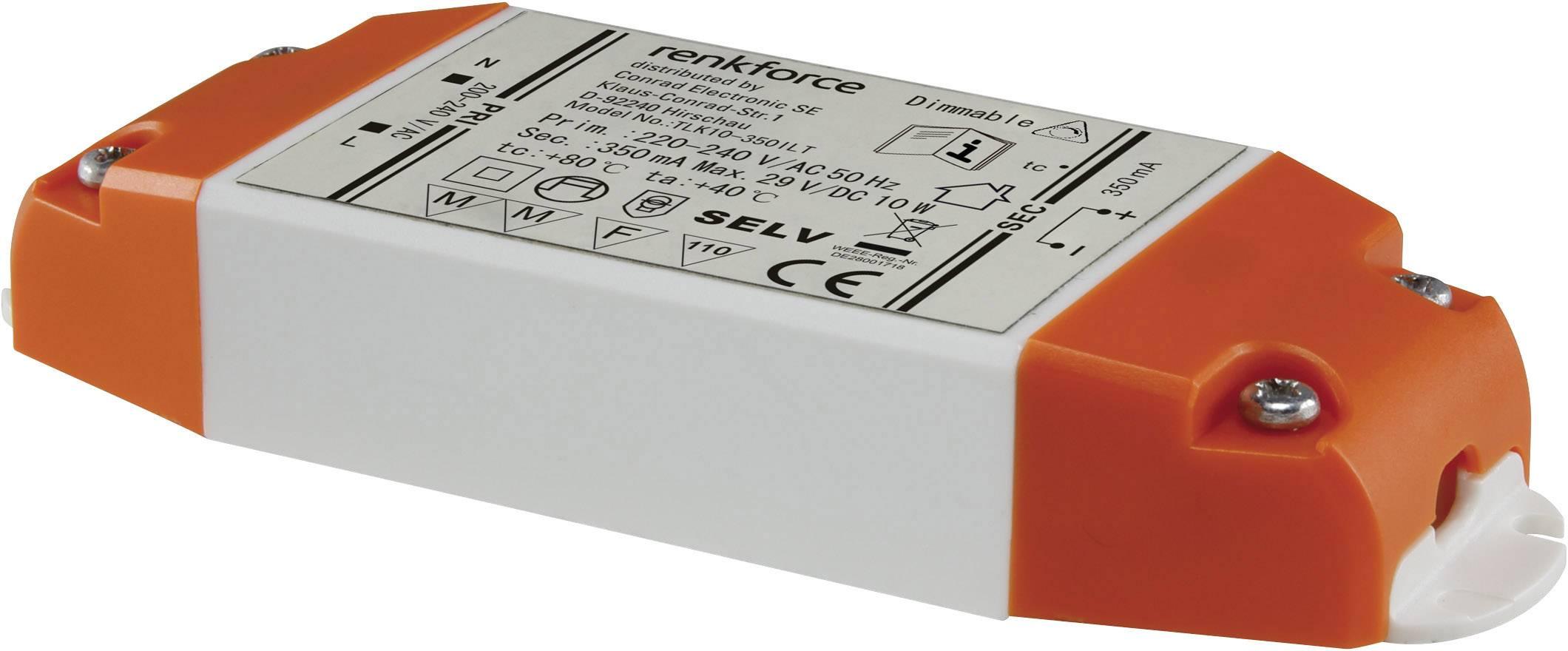 Napájací zdroj Renkforce pre LED, 6-10 W, 350 mA, 9283c61, biela/oranžová