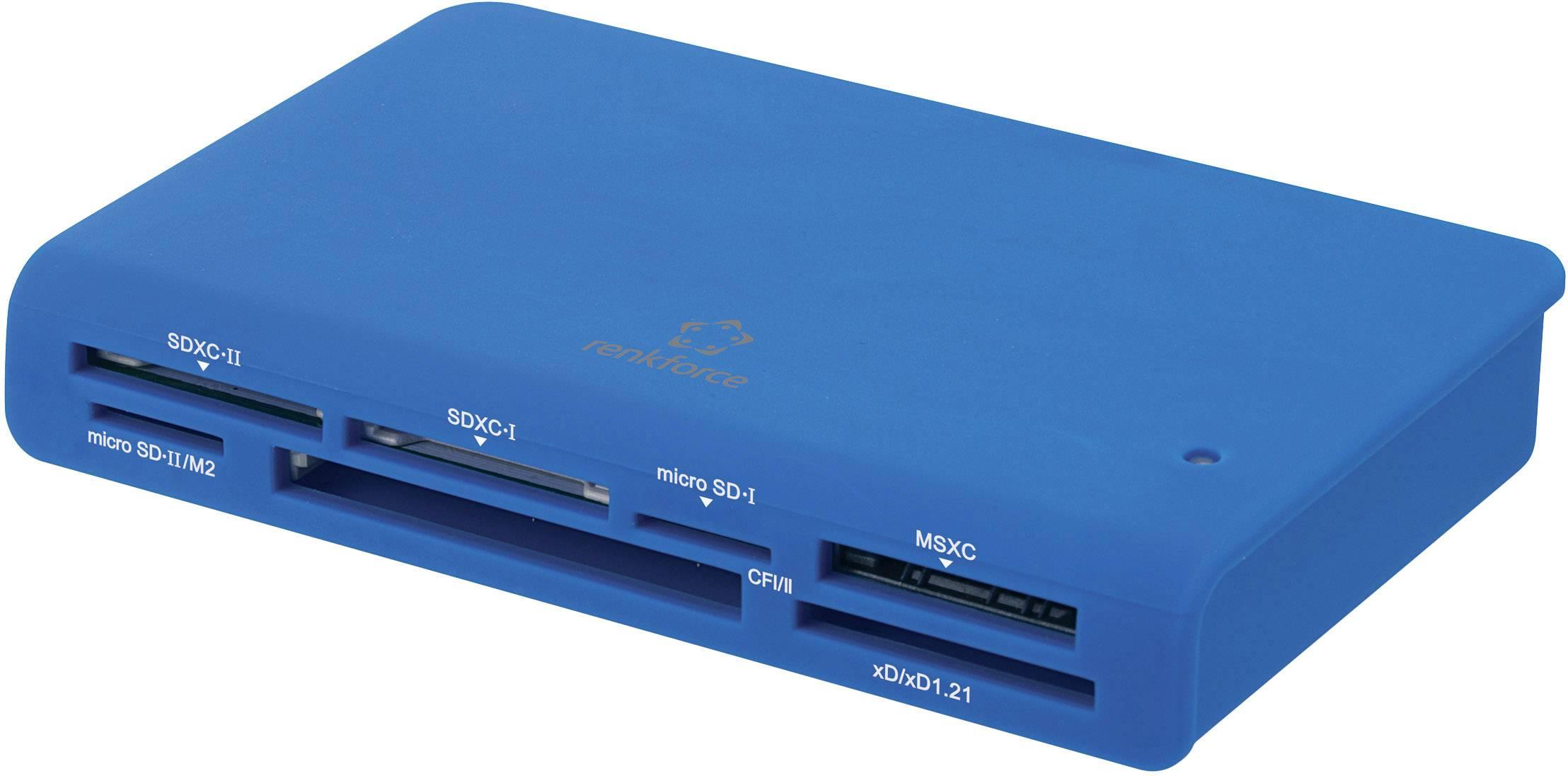 Externá čítačka pamäťových kariet Renkforce CR24-G, USB 3.0, modrá